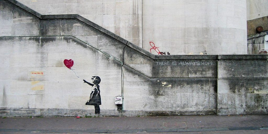 """Girl and Heart Balloon"" par Banksy"